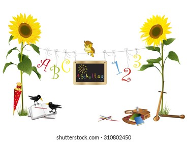 Sunflowers for first school day
