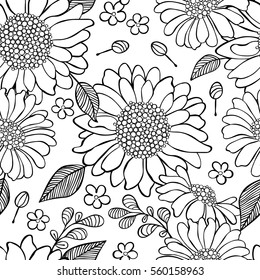 Sunflowers. Flowers and leaves. Floral print. Seamless vector pattern (background).