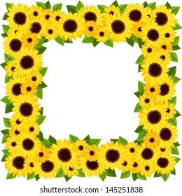 Sunflowers frame. Vector illustration.
