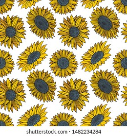 Sunflowers hand drawing sketch vector seamless pattern. Sunflowers endless texture.  Sunflowers background. Part of set.
