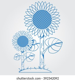 Sunflowers logo in cartoon style. Outline drawing.