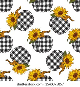 Sunflowers Plaid Pumpkin seamless pattern. Farmhouse Decor. Vector illustration on a white background.