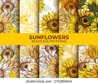 Sunflowers Seamless Patterns Set, Bundle Pack, Vector Backgrounds, Wallpaper Autumn Harvest Designs, Thanksgiving or Floral Honey