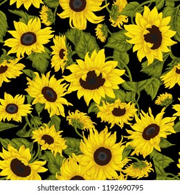 Sunflowers. Vector illustration in vintage style. Seamless background.