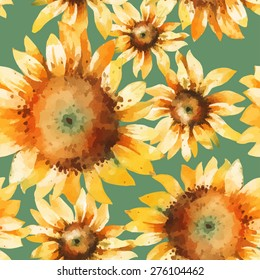 Sunflowers watercolor vector seamless pattern