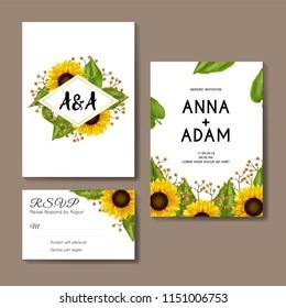 sunflowers wedding invitation card template design
