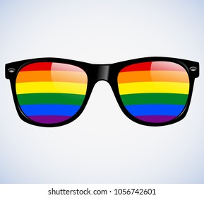 Sunglasses Abstract Rainbow lenses Vector Illustration Background. LGBT