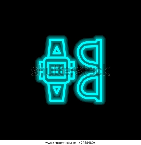 Sunglasses blue glowing neon ui ux icon. Glowing sign logo vector