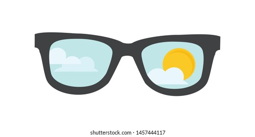 Sunglasses with blue sky, clouds and sun reflection. Isolated on white background. Summer sunglasses