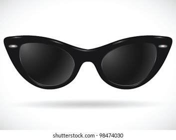 Sunglasses (cats-eye black) isolated - vector illustration Shadow and background on separate layers. Easy editing.