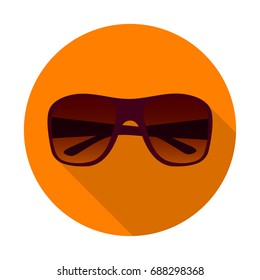 Sunglasses flat icon with long shadow. Summer accessory for UV protection. Vector illustration. EPS10.
