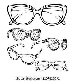 Sunglasses. Hand drawn vector sunglasses set.  Sunglasses vector sketch illustration collection set. Modern and Fashion sunglasses. Fashion accessory.