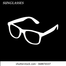 Sunglasses  hipster colored icon on black background vector illustration