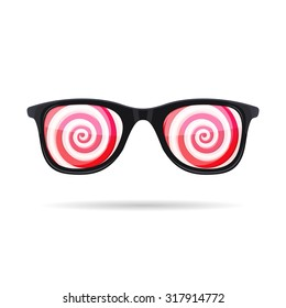 Sunglasses with Hypnotic Spirals onWhite Background. Vector