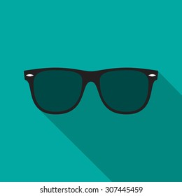 738a0c029b0a Sunglasses icon with long shadow. Flat design style. Sunglasses silhouette.  Simple icon.