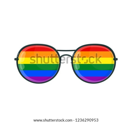 14a792f675d2 Sunglasses with LGBT gay rainbow lenses. Vector flat cartoon illustration  icon. Isolated on white