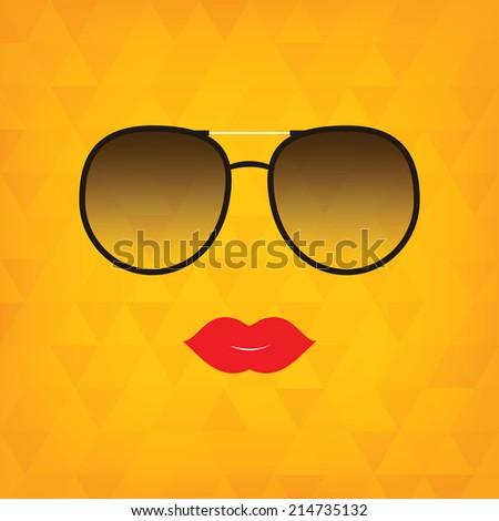 sunglasses lips vector illustration hipster theme stock vector