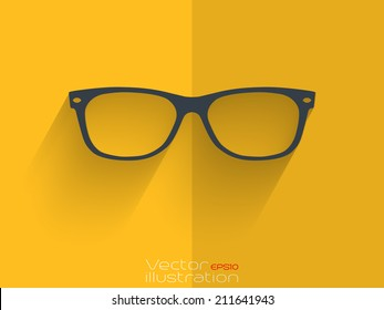 Sunglasses with long shadow on yellow background
