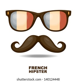 Sunglasses and mustaches. French flag. Vector illustration