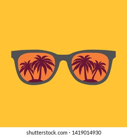 Sunglasses with palms reflection vector illustration background