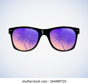 Sunglasses with palms  reflection vector illustration