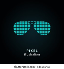 Sunglasses - pixel icon. Vector Illustration. Design logo element. Isolated on black background. It is easy to change to any color.
