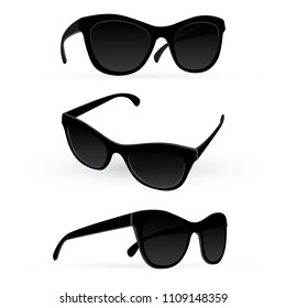 Sunglasses. Realistic vector sunglasses set. Sunglasses vector illustration collection set. Modern and Fashion sunglasses. Fashion accessory.