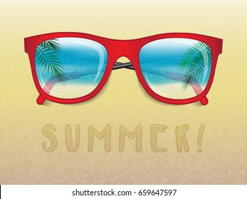 sunglasses reflecting tropical landscape and the text