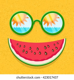 Sunglasses with reflection of sun, sky, sea waves and watermelon slice as smile on sand texture background. Funny cartoon summer vector icon. Summer smile icon. Summer smile element.