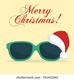 Sunglasses with Santa Klaus Hat. Christmas background template. New Year on the beach. Vector