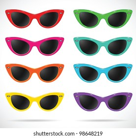 Sunglasses set (cats-eye shaped/multicolored/isolated) -vector illustration Shadow and background are on separate layers. Transparent lens. Easy editing.