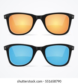 Sunglasses Set with Colored Lenses Hipster Style for Summer Vacation on the Beach. Vector illustration