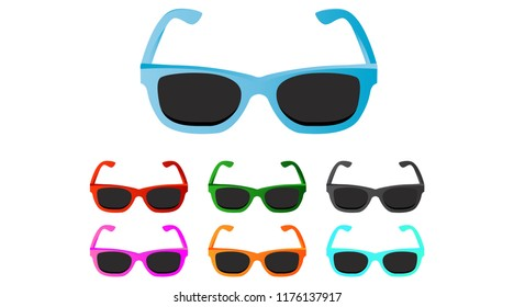 Sunglasses set, mulitcolor. Vector icons