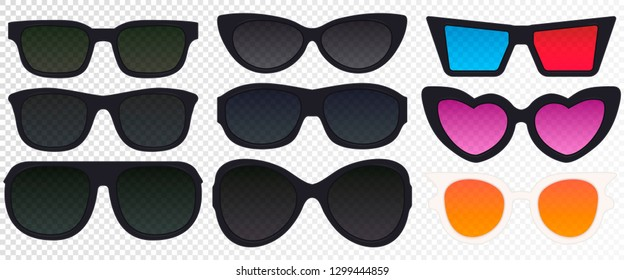 Sunglasses. Set of realistic vector illustrations with transparent tinted glasses. Accessories of various types complement the style of clothing. Modern style sunglasses on transparent background.
