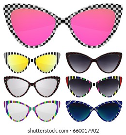 Sunglasses set. Trendy sunglasses colors. Summer eyeglasses. Fashion collection. Summer. Sunglasses retro rim. Vintage fashion. Sunglasses for tropical trip. Cat eye rim style. Retro trend vector.