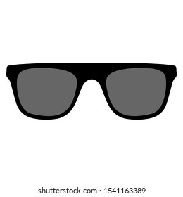 Sunglasses set. Trendy sunglasses. Summer eyeglasses. Fashion collection. Summer vacation item. Sunglasses for tropical trip. Black glasses with dark glasses. Vector illustration.