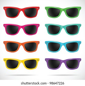 Sunglasses set (wayfarer shape/multicolored/isolated) - vector illustration Shadow and background are on separate layers. Transparent lens. Easy editing.