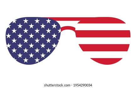 Sunglasses shape USA flag - Independence Day USA with motivational text. Good for T-shirts, Happy july 4th. Independence Day USA holiday. United States of America. LOVE the usa. Eyewear.