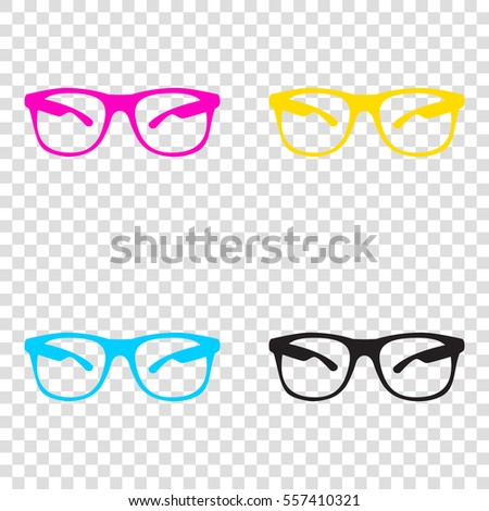 452a1aad468c Sunglasses sign illustration. CMYK icons on transparent background. Cyan