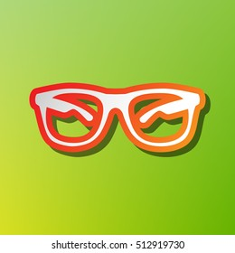 Sunglasses sign illustration. Contrast icon with reddish stroke on green backgound.
