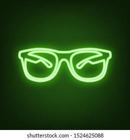 Sunglasses sign illustration. Green neon icon in the dark. Blurred lightening. Illustration.