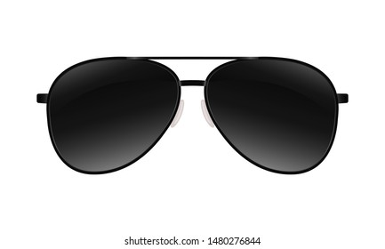Sunglasses sign. Symbol black sunglasses isolated on white background. Vector illustration
