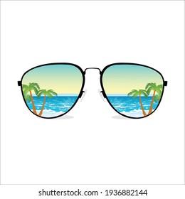 Sunglasses with summer beach Vector Illustration