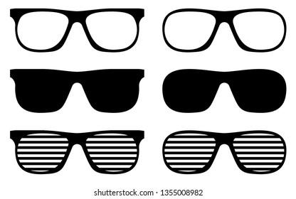 Sunglasses Vector Icon Cliparts Glossy black aviator Illustration