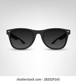 Sunglasses vector illustration. Black rim.