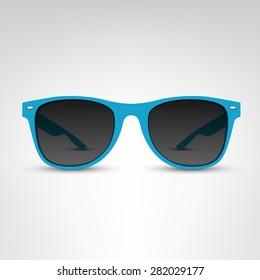 Sunglasses vector illustration. Blue rim.