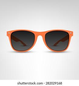 Sunglasses vector illustration. Orange rim.