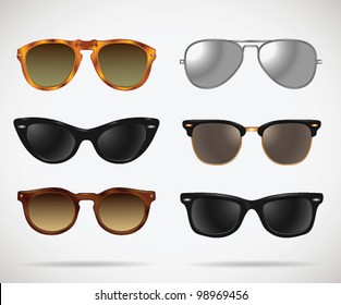 Sunglasses vintage set (cats-eye/oval/wayfarer/clubmaster/aviator/isolated) - vector illustration. Shadow and background are on separate layers. Easy editing.
