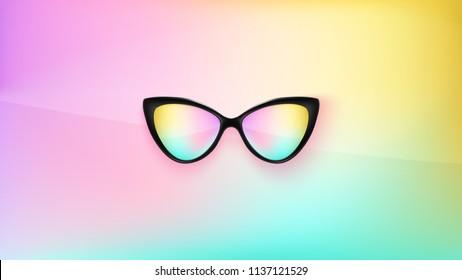 Sunglasses wallpaper. Trendy colors. Fashion background. Summer. Holographic. Rim. Eyeglasses. Party. Eyewear. Poster backdrop. Sunglasses. Holographic glasse. Tropical. Cat eye rim style. Retro.
