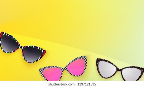 Sunglasses wallpaper. Trendy colors. Fashion background. Glasses. Summer. Holographic. Rim. Eyeglasses. Party. Poster backdrop. Yellow. Reto sunglasse. Sunglasses. Tropical. Cat eye rim style. Retro.